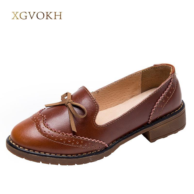 XGVOKH women's shoes Brogue Genuine Leather British style Casual Fashion Comfortable Loafers Dress Women Handmade Flats 2017 fashion women shoes genuine leather loafers women mixed colors casual shoes handmade soft comfortable shoes women flats