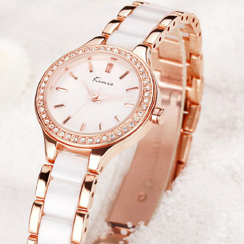 KIMIO Brand Rhinestone Watches Women Imitation Ceramic Strap Bracelet Quartz Watch Ladies Rose Gold Dress Clock Relojes Mujer kimio brand diamond rhinestone rose gold bracelet women watches fashion woman watch luxury quartz watch ladies wristwatch clock