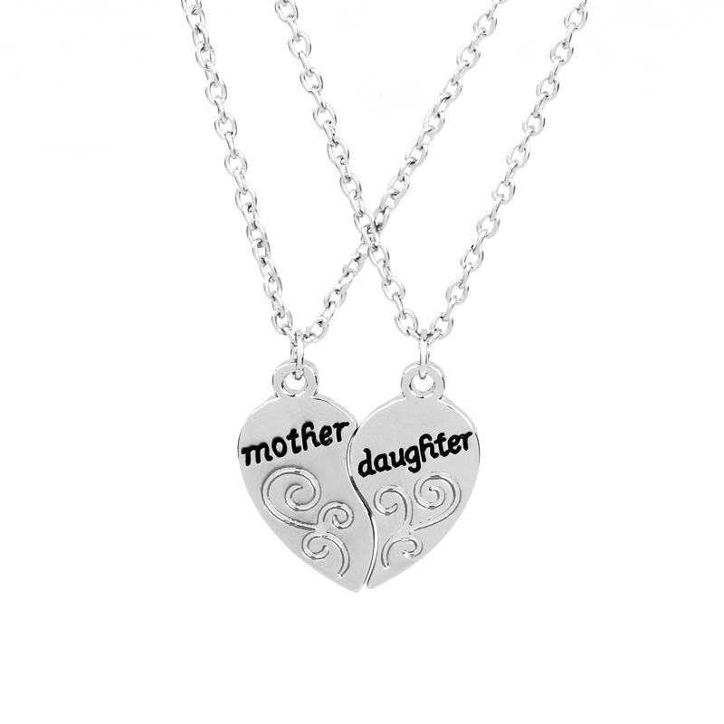 Silver Mother Daughter Puzzle Heart Family Pendant Necklace Exquisite Girls Women Simple Jewelry Friendship Gift Dropshipping|Pendant Necklaces|   - AliExpress