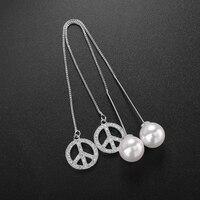 Platinum Plated Double Sided Design Zircon Peace Sign Imitation Pearl Earrings Long Tassel Women Jewelry
