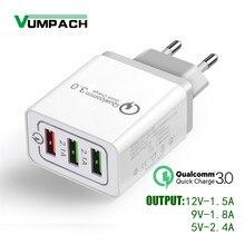 Chargeur rapide à 3 Ports USB 3.0, adaptateur secteur mural, pour iPhone, iPad, Samsung, Xiaomi, téléphone portable, voyage, QC3.0