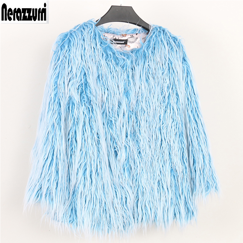 Nerazzurri Thick Warm Faux Fur Coat Women 2018 Winter Hairy Blue Shaggy Fluffy Jacket Short Warm Large Size Outwear 5xl 6xl 7xl