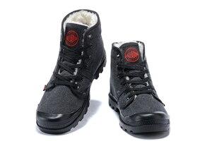Image 3 - PALLADIUM Pampa płótno pluszowe buty zimowe ogrzewanie mężczyźni Botas kowbojskie botki moda w stylu Vintage płótno obuwie rozmiar 39 45
