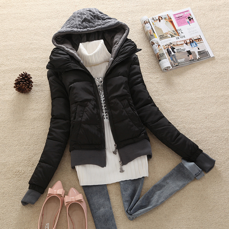 Coats And Jackets Nice New Autumn Winter Women Slim Hooded Knitted Down Coat Ladies Cotton Padded Sweater Jacket M-XL CP1182 muxu new autumn winter coat women basic jacket coat female slim hooded cotton coats casual silver long sleeve ladies jackets