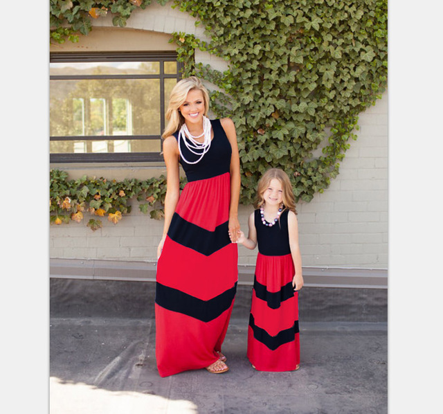 Long Dress Striped Vest Dress Mother Daughter Dress Family Set Cotton Girl Baby Women Cotton Dress Family Clothes Red Black 3XL