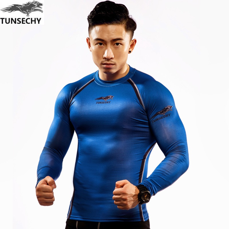 TUNSECHY original Muscle Men Compression Tight T-shirt Long Sleeves Double Sides Prints Fitness Base Layer Weight Lifting Wear