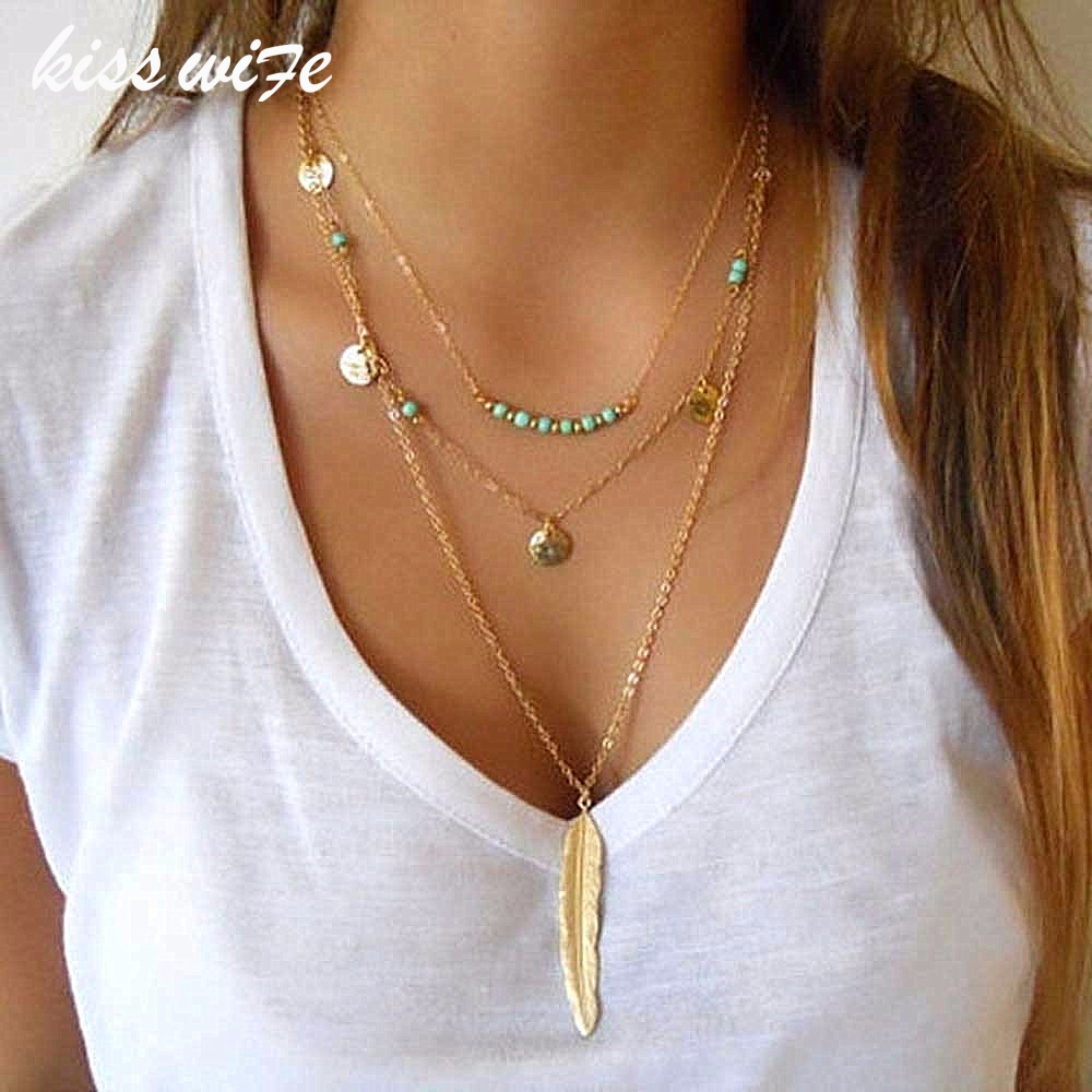 KISS WIFE 2017 New Fashion Feather Necklaces