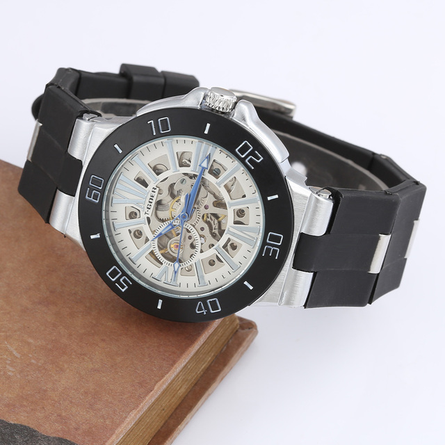 7859f06a91e GOER Relogio Masculino Luxury Watches Men High Quality Silicone Strap  Skeleton Automatic Mechanical Watches Men Designer