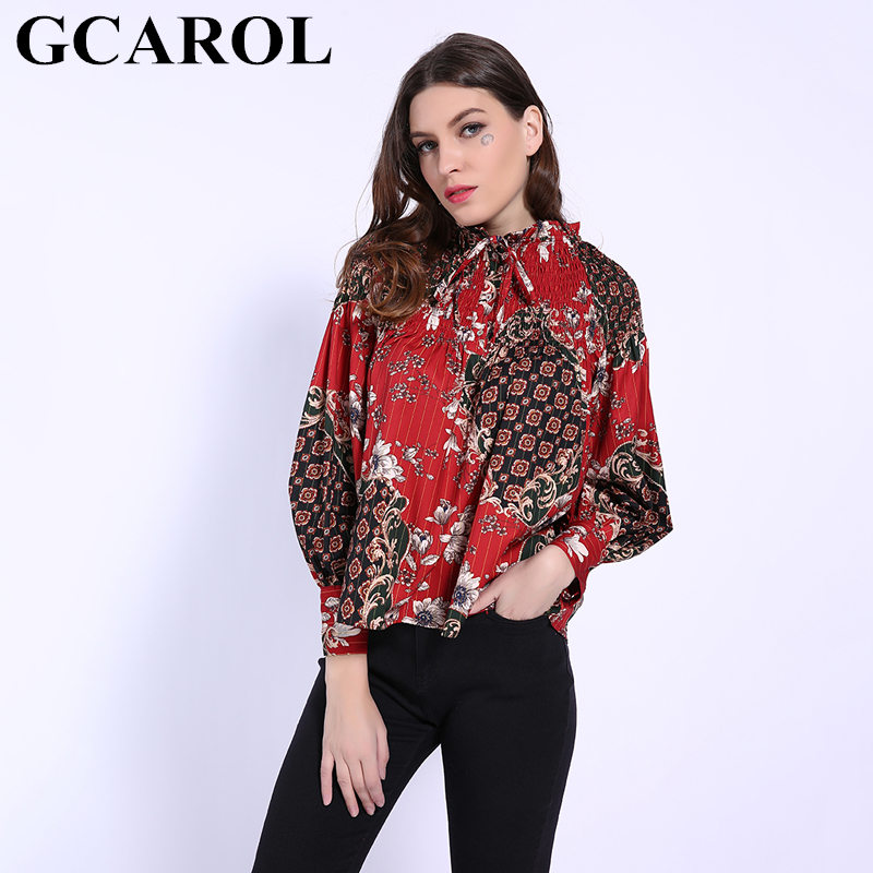 Women's Clothing Amiable Gcarol 2019 Early Spring Elastic Shoulder Floral Printed Women Baby-doll Blouse Sweet Pleated Shirt Fashion Streetwear Red Tops Careful Calculation And Strict Budgeting