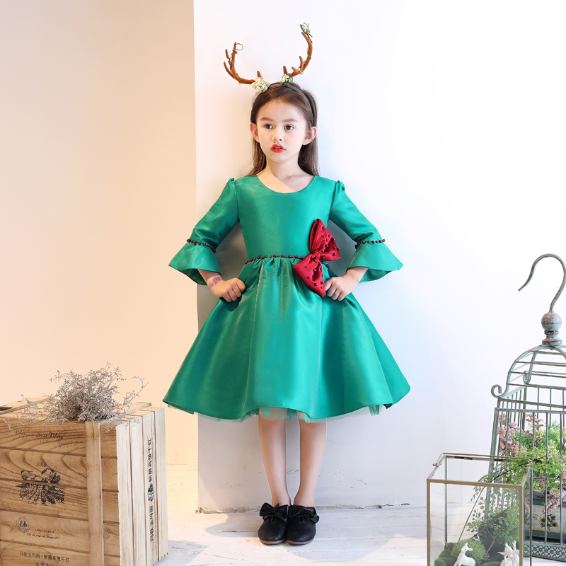 GreenTutu Princess Dress Bowknot Flower Girl Dresses Wedding Flare Sleeve Girls Formal Dress Birthday Christmas Costume B70 flare sleeve cut out bowknot mini dress