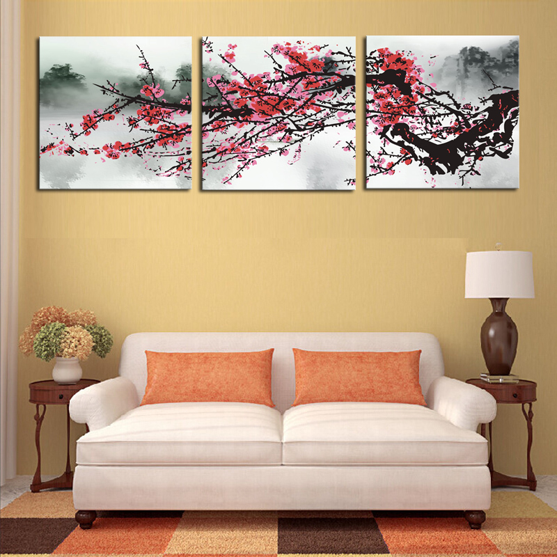 Unframed 3 Sets Red Plum Blossom Flowers Painting Art Cheap Hd Picture Home Decor On Canvas