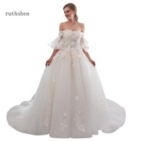Ruthshen последней моде свадебные платья Роскошные с плеча свадебное платье Vestido De Noiva Курто 2018 Линия Свадебные платье