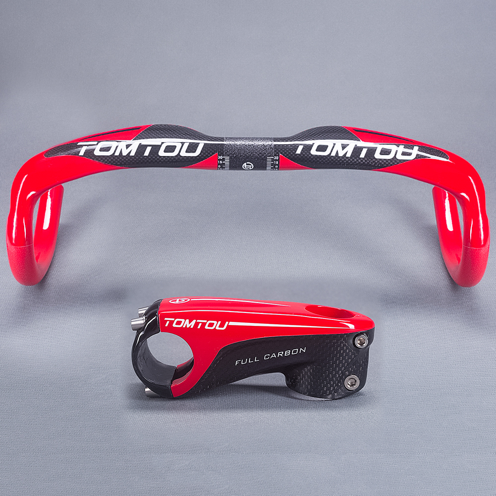 TOMTOU Super Light Full Carbon Fibre Road Handlebar Bent Bar Stem Set Glossy Red High Quality