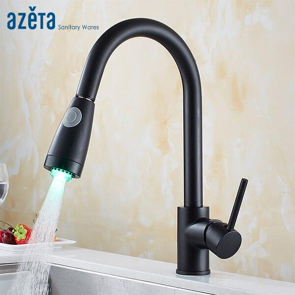 Azeta LED robinet de cuisine mitigeur robinet de cuisine en laiton noir robinet de cuisine 2 voies sortie d'eau robinet de cuisine MK9824BLD