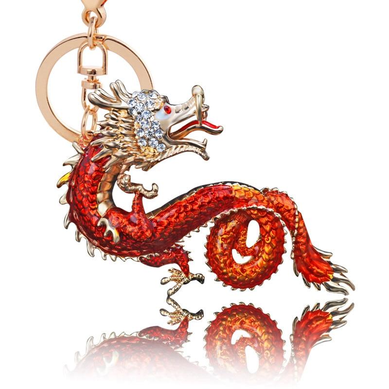 Creative Chinese <font><b>Dragon</b></font> <font><b>Shape</b></font> <font><b>Alloy</b></font> <font><b>Key</b></font> Chain Girls Bag Ornaments Exquisite Car Accessories for Women Chritmas Gift <font><b>Key</b></font> <font><b>Ring</b></font>