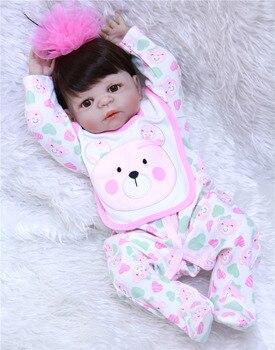 "Girl reborn babies dolls  NPK full silicone dolls reborn 22"" 55cm lovely new born baby toddler dolls bebes reborn bonecas"