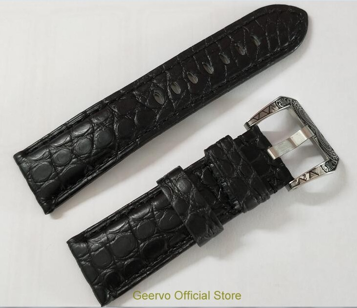 24mm Watch band strap black crocodile Genuine leather carving pattern watch buckle 12A