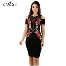 цена на Zkess Mesh Combine Embroidered Rose Cold Shoulder Bodycon Dress 2017 summer women Zipper Robe Sexy Pencil Tight Dresses LC61466
