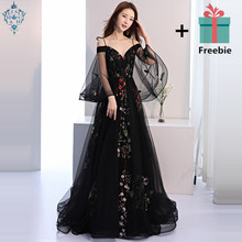 Ameision Evening Dress 2019 Black Embroidery Floral Spaghetti Strap Train Elegant Trailing Dinner Gowns robe de soiree