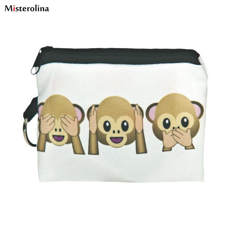 1 pcs Cute Cartoon three monkeys Girls Women Student Printing Coins Purse Clutch Zipper Zero Wallet Phone Key Bags L09900
