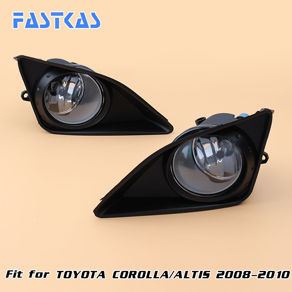 12v Car Fog Light Assembly for Toyota Corolla/Altis 2008-2010 Front Left and Right set Fog Light Lamp kit with Harness Relay 1 set left right car styling front halogen fog lamps fog lights 81210 06052 for toyota rav4 2006 2007 2008 2009 2010 2011 12