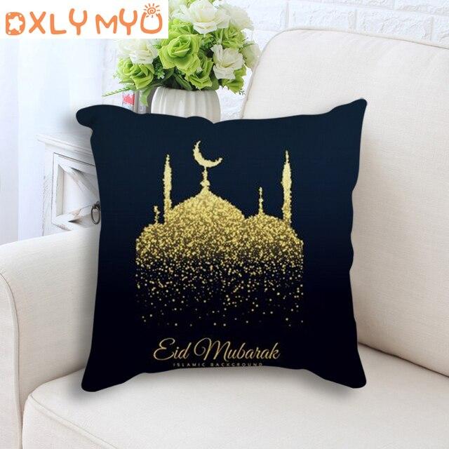 Muçulmano Eid Mubarak Celebração Almofada Decorativa Para Sofá Car Home Decor Throw Pillow 45x45 Mesquita Sagrada de Linho de Algodão almofada
