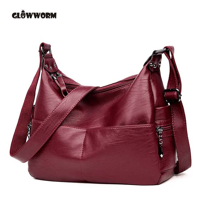 GLOWWORM Large Ladies Hand Bags Women Leather Handbag Luxury Handbags Women Bags Designer Shoulder Bag Female Bolsa feminina leftside fashionable 2017 women tassel designer rivet boston bag female handbag woman hand bags shoulder bag with wide strap