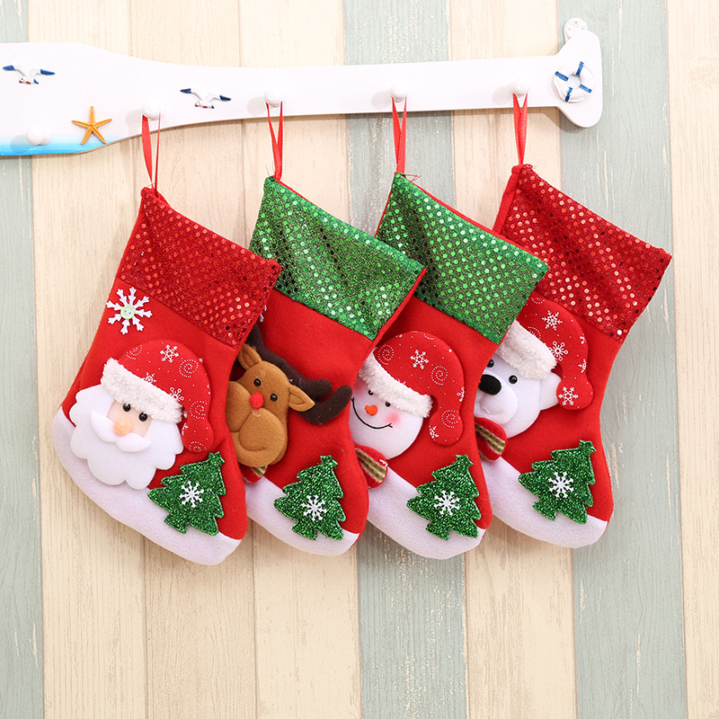 2020 New Year Christmas gift Lovely Elk christmas stockings Tree Decoration Pendant  bag