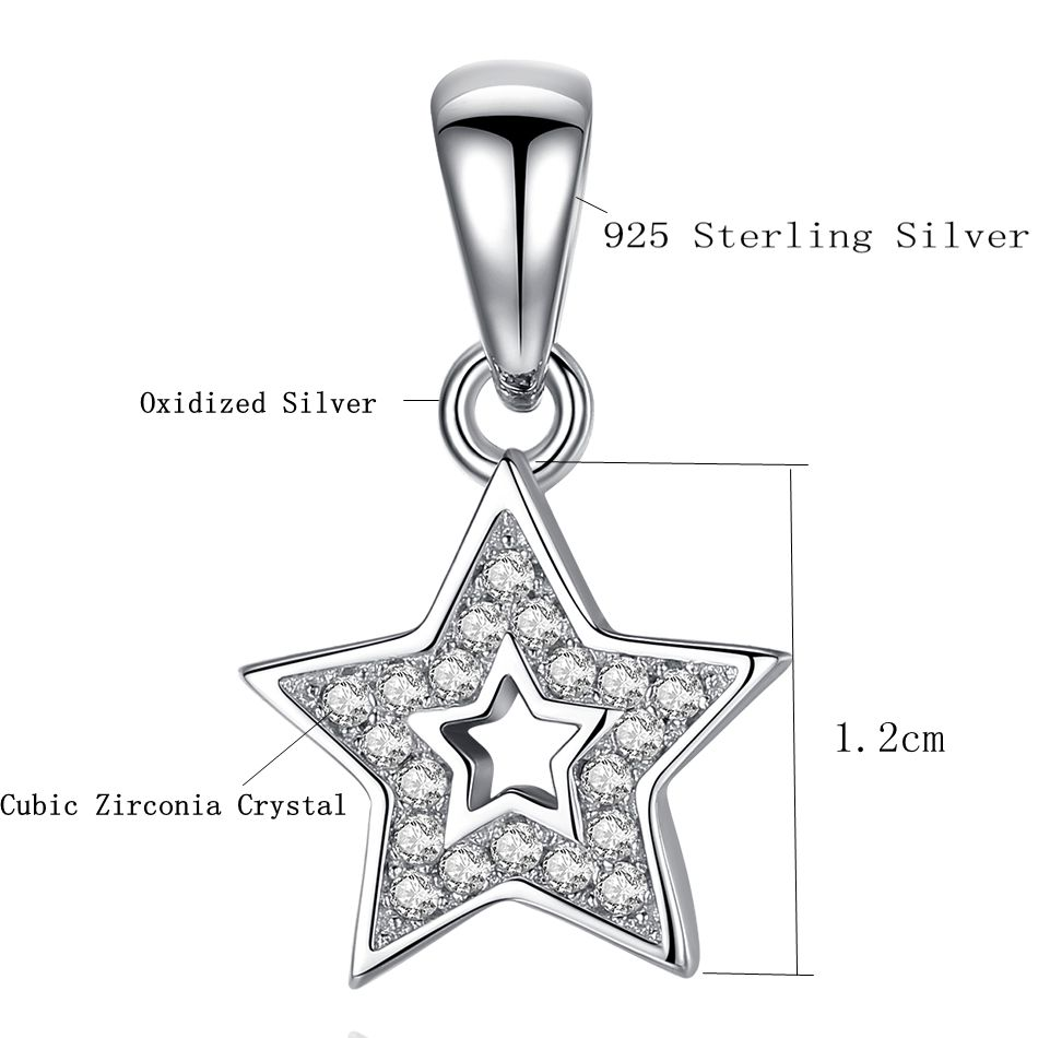 ca614b6ab Genuine 925 Sterling Silver Star Pendant Fashion Shiny Cubic Zirconia  Pendant For Women Necklace Jewelry