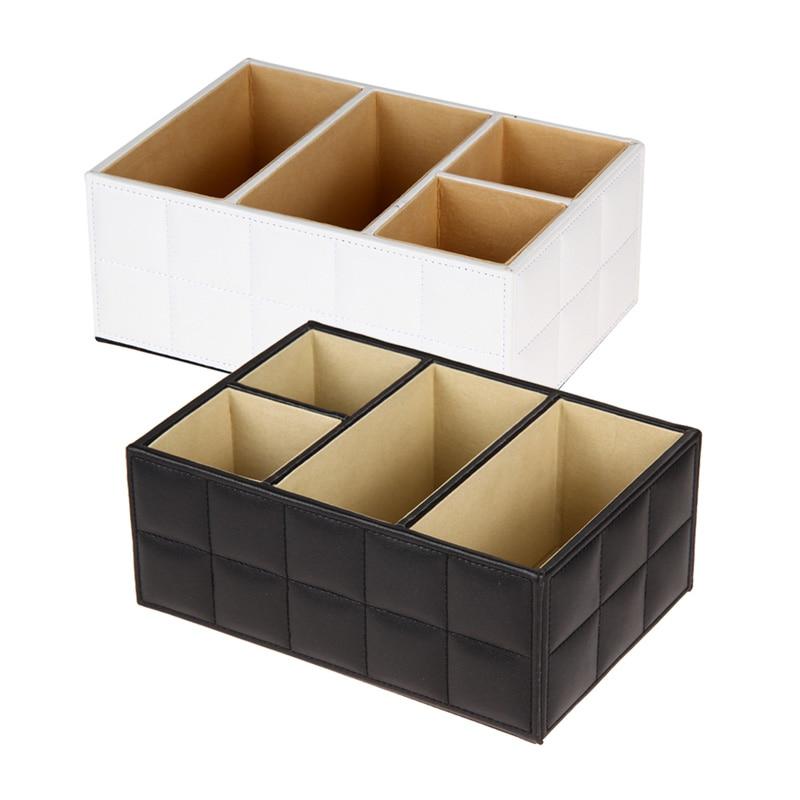Träbox Office Organizer Fjärrkontrollhållare Förvaring Container Multifunktionell PU Läder Förvaringslåda