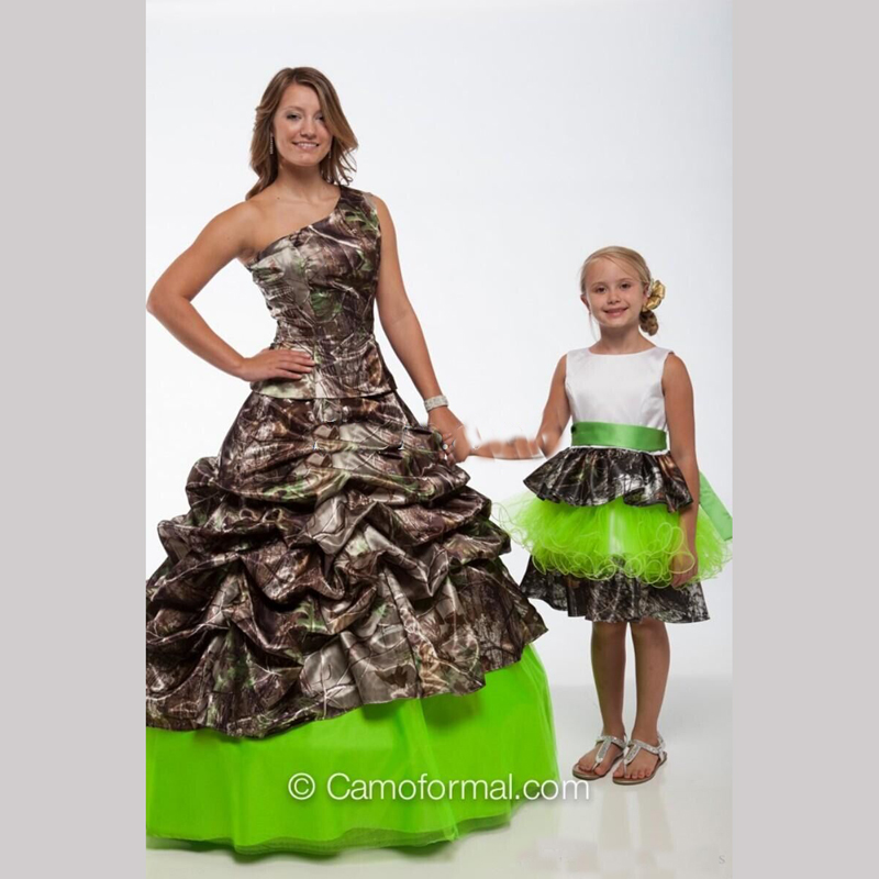 Red One shoulder Camo Wedding Dresses 2016 Realtree with Sash Floor ...