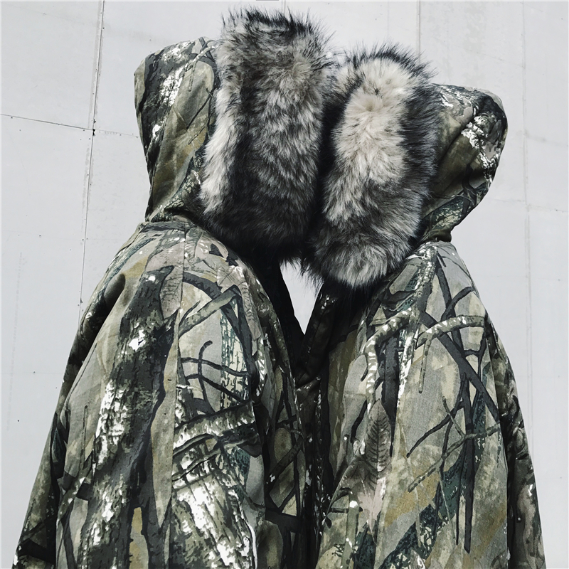 En Mode Parkas Hiver Wang À Capuche Femmes Oversize Fausse Whitney Fourrure Camouflag Outwear Rembourré Streetear 2018 Hommes Peint Coton w01fgxt