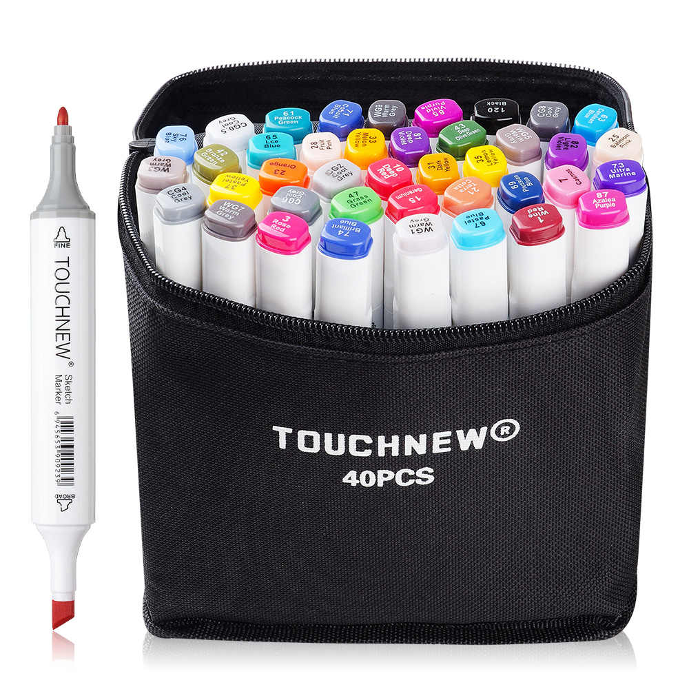 Touchnew 40 Color Set Marker Pen Twin Tips Sketch Alcohol Based Art Markers Product Design White Body Carry Bag Twin Tip Art Markersdesign Art Markers Aliexpress