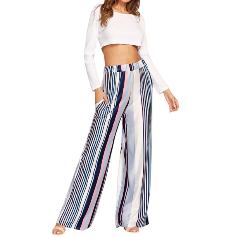 #4 2018 Neue Mode Frauen Casual Neue Mode Mehrfarbige Streifen Druck Breite Bein Hosen Leggings
