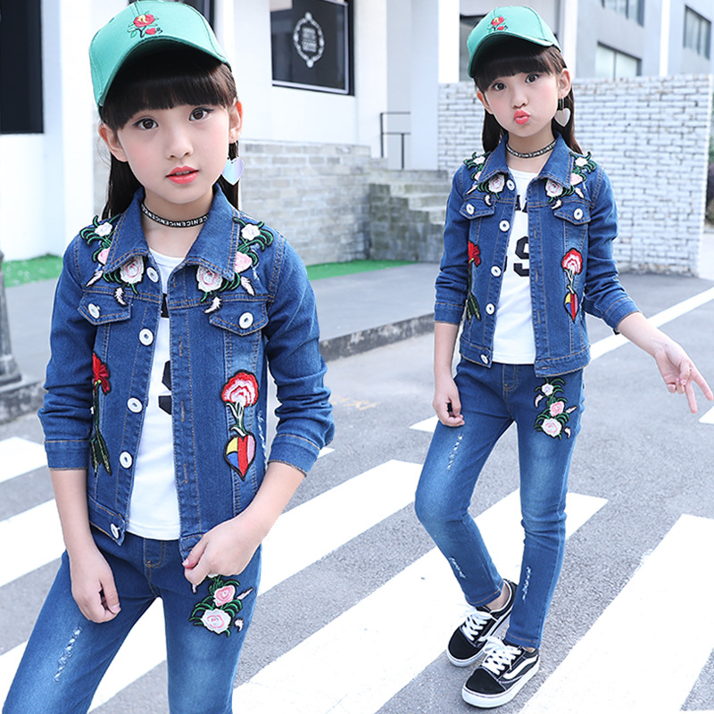 spring and autumn jeans for girls 2018 baby girl denim two-piece body suit kids casual wear kids clothing set print jeans jacket 2017 woman classic vintage jeans womens loose casual fringed false two piece cool denim jeans girl for women high waist pants