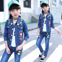 цена на spring and autumn jeans for girls 2019 baby girl denim two-piece body suit kids casual wear kids clothing set print jeans jacket