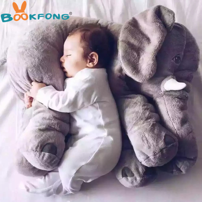 BOOKFONG 60cm Large Plush Elephant Doll Toy Kids Sleeping Back Cushion Cute Stuffed Elephant Baby Accompany Doll Xmas Gift lucky boy sunday 60cm elephant plush toy cute big size stuffed kids toy baby elephant pillow girlfriend children christmas gift