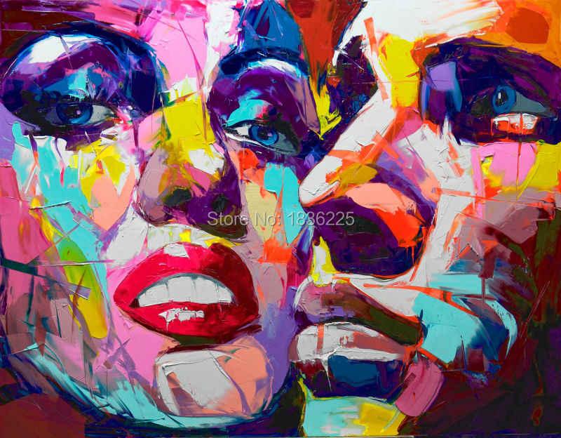 Handpainted Modern Abstrak Lukisan Pasangan Wajah Gambar Angka