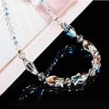 Beijo de peixe de cristal elegante luxo clavícula colar de decoração de prata