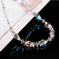 Kiss Fish Imported Crystal Necklace Elegant Luxury Clavicle Female Korean Decorative Crystal Necklace Sterling Silver Jewelry