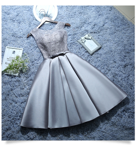 Image 4 - 2020 Sweet Memory Satin Lace Wine Red Short White Evening Dresses Homecoming Graduation Dresses Robe Gray Party Formal Dress