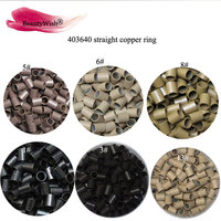 10000Pcs 4.0x3.6x4.0mm Straight Copper Micro Tubes Rings Black Brown Blonde Micro Beads for I tip Hair