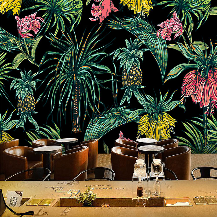 Free Shipping Southeast Asian rainforest banana leaf green wallpaper bedroom living room TV restaurant wallpaper mural  free shipping southeast asian style elephant mural background wall thickened wear high quality living room bedroom wallpaper