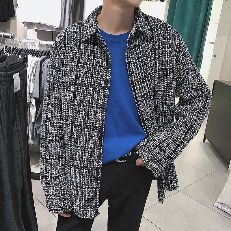 2018 Japanese Classic Style Men's Lattice Thick Jackets Type Plaid Shirts Long Sleeves Loose Coats Brand Fashion Shirts S-XL