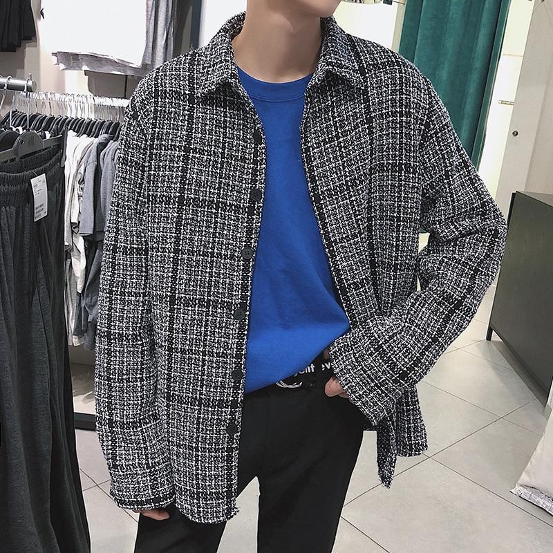 2018 Japanese Classic Style Men's Lattice Thick Jackets Type Plaid Shirts Long Sleeves Loose Coats Brand Fashion Shirts S-XL