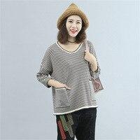 2017 Outono Mulheres Camisa de Grandes Dimensões T Coreano Moda Casual Solto Bolso Listrado V Pescoço T-shirt de Manga Comprida de Malha Plus Size