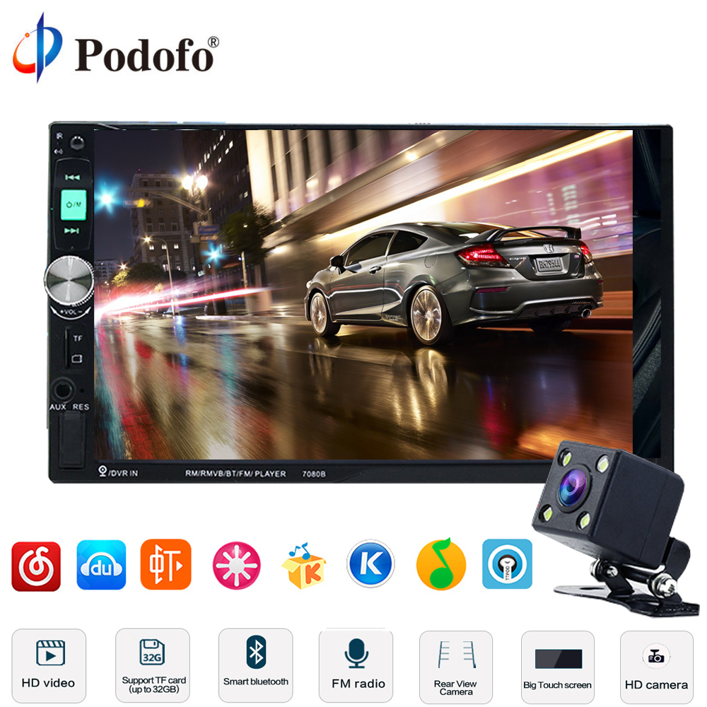 Podofo 7 HD Touch Screen Car Radio 2 Din 2din In Dash Auto audio Player Stereo Bluetooth USB SD MP3 Rear View Camera Autoradio podofo 2 din car radio 6 6 lcd touch screen car audio 12v auto radio player with bluetooth fm rear view camera autoradio stereo