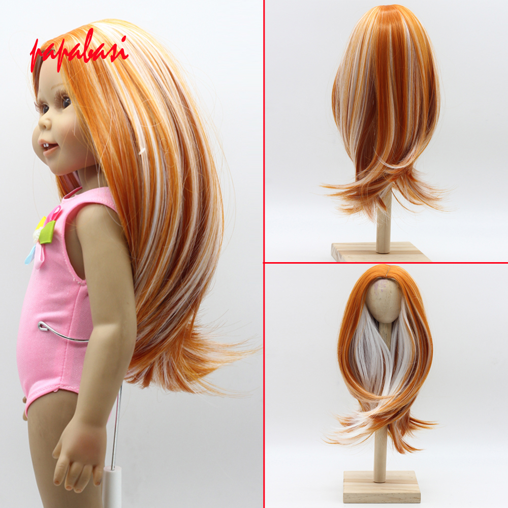Natural Color Soft Straight Synthetic Hair Wig for 18 inch American Girl Doll with 26cm Head Circumference wig hair long side parting straight colormix synthetic lace front wig