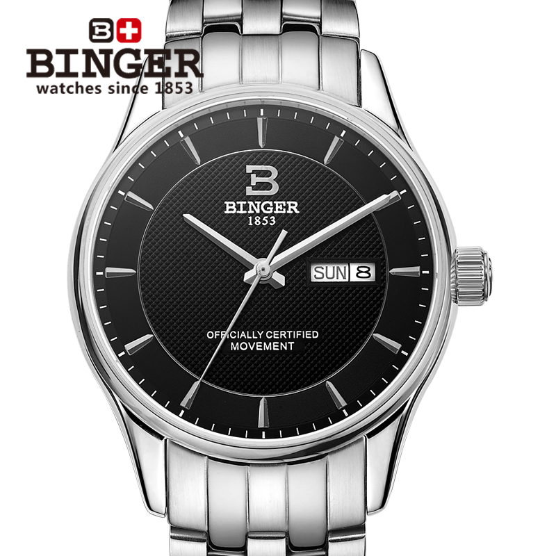 Switzerland men's watch luxury brand clock BINGER luminous Automatic self-wind full stainless steel Waterproof B5008-2 switzerland men s watch luxury brand wristwatches binger luminous automatic self wind full stainless steel waterproof b106 2