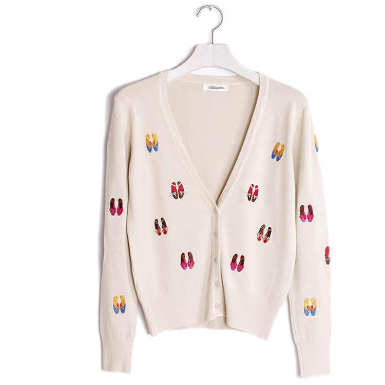 Новый Для женщин 2019 Демисезонный обувь с вышивкой свитер пальто с v-образным вырезом, вязаный кардиган милые укороченные кардиганы тонкая верхняя одежда пальто Mujer
